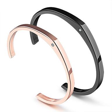 levne Pánské šperky-2pcs Dámské Pro páry Široké náramky Geometrické U tvar Prohlášení stylové Moderní Sladký Elegantní Titanová ocel Náramek šperky Zlatá Pro Svatební Promoce Zásnuby Dar Slib