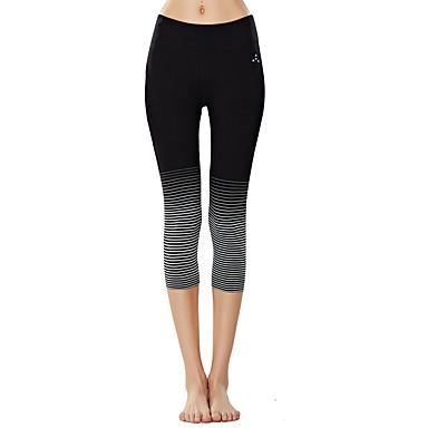 בגדי ריקוד נשים מכנסי יוגה קולור בלוק ריצה כושר וספורט 3/4 טייץ לבוש אקטיבי נושם ייבוש מהיר רך באט הרם מיקרו-אלסטי רזה