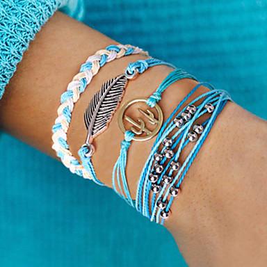 voordelige Dames Sieraden-4pcs Dames Wikkelarmbanden Vintage Armbanden Oorbellen / armband Meerlaags Bladvorm Cactus Eenvoudig Klassiek Vintage Etnisch Modieus Rips Armband sieraden Blauw Voor Dagelijks School Straat