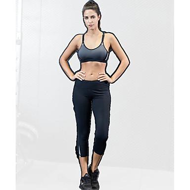בגדי ריקוד נשים מכנסי יוגה חזיית ספורט בגדי גוף אמנותיים להתעמלות אלסטיין 3/4 טייץ חותלות 3/4 קפרי מכנסיים לבוש אקטיבי ייבוש מהיר באט הרם טייץ