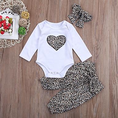 povoljno Odjeća za bebe-Dijete Djevojčice Aktivan / Osnovni Leopard Dugih rukava Kratka Komplet odjeće Obala