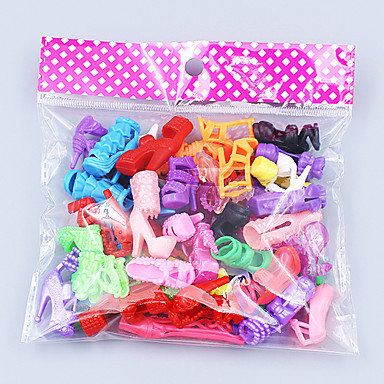 preiswerte Zubehör für Puppen-Puppenschuhe 20 pcs Für Barbie Polyester Schuhe Für Mädchen Puppe Spielzeug