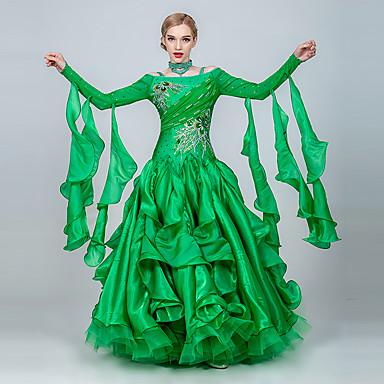 ריקודים סלוניים שמלות בגדי ריקוד נשים הדרכה / הצגה טול / משי קרח ריקמה / קריסטלים / אבנים נוצצות שרוול ארוך שמלה