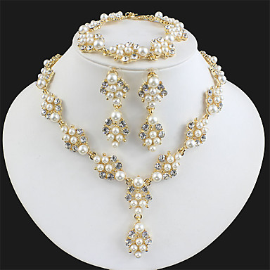 cheap Jewelry Sets-Women's White Bridal Jewelry Sets Link / Chain Botanical Luxury Dangling Fashion Elegant Imitation Pearl Rhinestone Earrings Jewelry Gold / Golden 2 / Golden 3 For Wedding Party Engagement Holiday