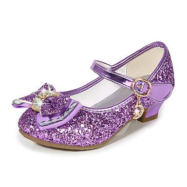 ราคาถูก Trendy Shoes-เด็กผู้หญิง รองเท้าสาวดอกไม้ Synthetics รองเท้าส้นสูง เด็ก ปมผ้า / เลื่อม สีดำ / สีม่วง / สีทอง ฤดูร้อน / พรรคและเย็น / TPR (ยางเทอร์โมพลาสติก)