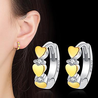 povoljno Modne naušnice-Žene Kubični Zirconia Okrugle naušnice Srce Moda Slatka Style Srebrna Naušnice Jewelry Bijela Za Dar Dnevno 1 par