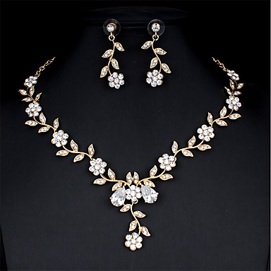 cheap Jewelry Sets-Women's White Bridal Jewelry Sets Link / Chain Drop Flower Botanical Luxury Unique Design Elegant Rhinestone Earrings Jewelry Gold / Silver For Christmas Wedding Party Engagement Gift 1 set