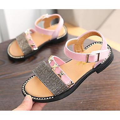 ราคาถูก Thick Soled Sandals-เด็กผู้หญิง ความสะดวกสบาย Synthetics รองเท้าแตะ สีน้ำตาล / สีชมพู ฤดูร้อน