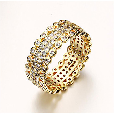 billige Motering-Dame Ring Micro Pave Ring Kubisk Zirkonium 1pc Gull Kobber Rund Stilfull Fest Daglig Smykker Klassisk velsignet Kul