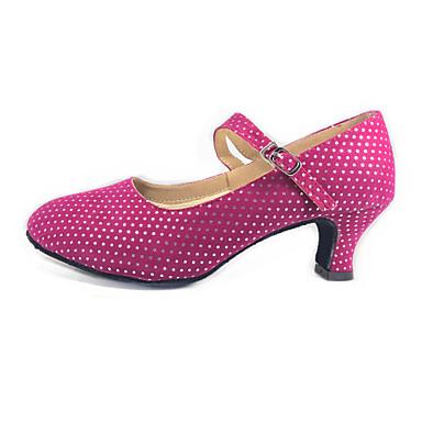 ราคาถูก รองเท้าเต้นราคาถูก-สำหรับผู้หญิง รองเท้าเต้นรำ หนังนิ่ม โมเดอร์น / บอลล์รูม ส้น ส้นCuban ไม่ตัดเฉพาะ ดำ / สีบานเย็น / EU42