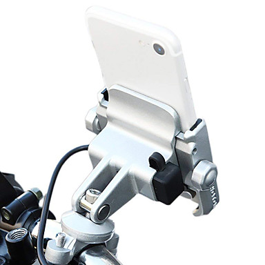 billige Interiørtilbehør til bilen-sykkel motorsykkel telefonholder telefonmontering med 12-24v usb lading metall aluminium håndtakholder 360 justerbar