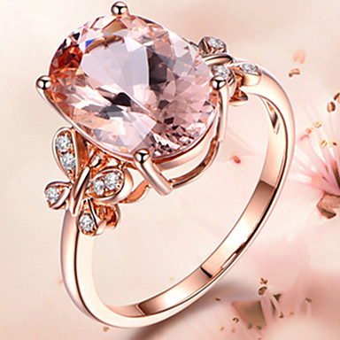 billige Motering-Dame Ring Kubisk Zirkonium 1pc Rosa Lyseblå Legering Søt Gave Daglig Smykker Sommerfugl Smuk