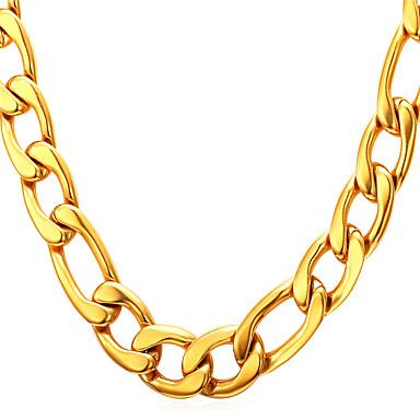 levne Pánské šperky-Pánské Řetízky Figaro Řetěz Tlustý dámy Na každý den Nerez Titanová ocel Ocel Černá Zlatá Stříbrná Zlatá Neclacke s náramkem Stříbrný náhrdelník s náramkem Náhrdelníky Šperky Pro Vánoční dárky