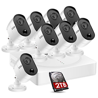 [$565 55] ZOSI 8CH 5MP HD 2560x1920 Surveillance Security Cameras System 8  PCS Bullet Camera CCTV Systems 2TB HDD PIR Motion Detection Monitor