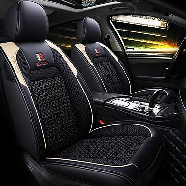 levne Doplňky do interiéru-5 sedadel, čtyři sezóny, univerzální potah sedadel do aut / materiál z ledového hedvábí a pu kompatibilita / kompatibilita s airbagem / nastavitelná a odnímatelná
