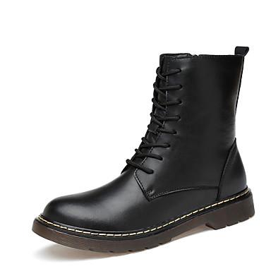 בגדי ריקוד גברים נעלי עור עור נאפה Leather סתיו חורף קלסי / יום יומי מגפיים הליכה ללא החלקה מגפיים באורך אמצע - חצי שוק שחור / בָּחוּץ / משרד קריירה / Fashion Boots / מגפיי קרב