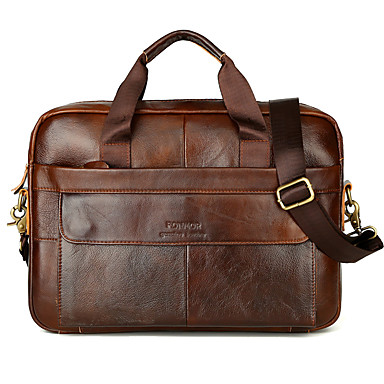 cheap Briefcases-Waterproof Laptop Bag Briefcase Top Handle Bag Men's Cowhide Belt Zipper Solid Color Shopping Daily Black Brown