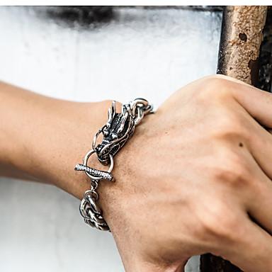 voordelige Herensieraden-Heren Armbanden met ketting en sluiting Schakelarmband Tweekleurig Band Stijlvol Punk modieus Titanium Staal Armband sieraden Goud / Zilver Voor Feest Lahja Dagelijks Carnaval Club