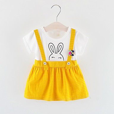 povoljno Odjeća za bebe-Dijete Djevojčice Osnovni Color block Kolaž Kratkih rukava Do koljena Haljina Red