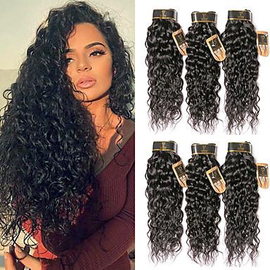 povoljno Ekstenzije od ljudske kose-6 paketića Brazilska kosa Water Wave Virgin kosa Ljudske kose plete Bundle kose Jedan Pack Solution 8-28 inch Prirodna boja Isprepliće ljudske kose Kreativan Nježno Najbolja kvaliteta Proširenja