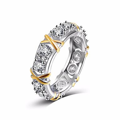 billige Motering-Dame Ring Kubisk Zirkonium 1pc Hvit Kobber Rund Stilfull Gave Daglig Smykker Klassisk velsignet Kul