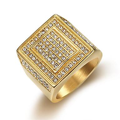 levne Pánské šperky-Pánské Prsten Kubický zirkon 1ks Zlatá Titanová ocel Kulatý Casual / Sportovní Módní Dar Denní Šperky Klasika Šťastný Cool