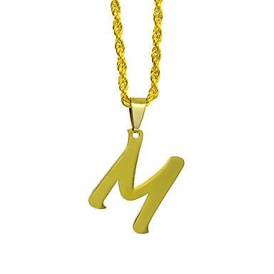 levne Pánské šperky-Pánské Dámské Stříbrná Zlatá Charm náhrdelník Náhrdelník korálek Klasika Alphabet Shape Základní Nerez Zlatá Stříbrná 50 cm Náhrdelníky Šperky 1ks Pro Klub