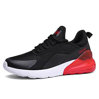 Homens Sapatos Confortáveis Com Transparência Primavera Verão Esportivo Tênis Corrida Respirável Branco / Preto / Preto / Vermelho / Branco