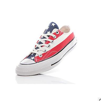 בגדי ריקוד נשים נעלי ספורט שטוח בוהן עגולה קנבס יום יומי קיץ אדום
