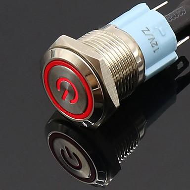 hesapli Oto Parçaları-16mm 12 v metal düğme anahtarı led güç kilitleme mandallama kendini sıfırlama anahtarı