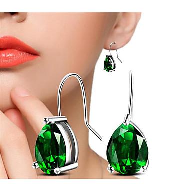 בגדי ריקוד נשים זירקונה מעוקבת עגיל אגס תְפִלָה אופנתי יהלום מדומה עגילים תכשיטים ירוק / זהב לבן עבור מתנה יומי זוג 1
