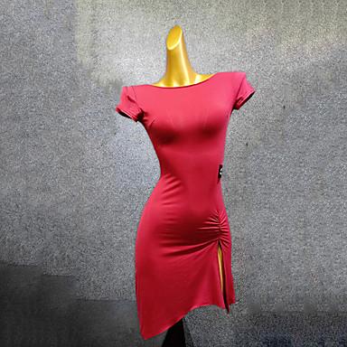 povoljno Odjeća i obuća za ples-Latino ples Haljine Žene Seksi blagdanski kostimi Spandex Nabori Kratkih rukava Haljina
