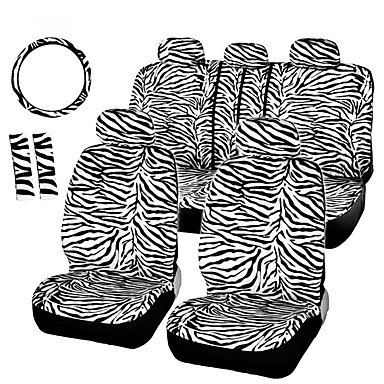 voordelige Auto-interieur accessoires-12pcs / set luxe zebra patroon stoelbekleding stuurhoes