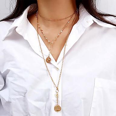 בגדי ריקוד נשים שרשראות תליון שרשרת שרשראות Layered שכבות מרובות פשוט ארופאי אופנתי Chrome זהב כסף 33 cm שרשראות תכשיטים 1pc עבור מתנה יומי רחוב חגים