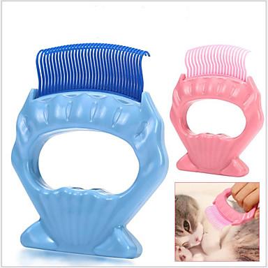 כלבים חתולים חיות קטנות ופרוותיות ערכות טיפוח פלסטי מסרקים נייד מסג' עמיד כחול ורוד 1