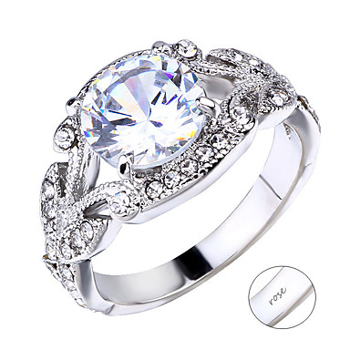 personlig tilpasset Klar Kubisk Zirkonium Ring Klassisk Engasjement Gave Love Geometrisk Form 1pcs Sølv
