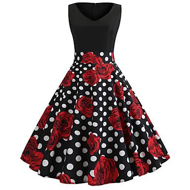 Audrey Hepburn Χωριατοπούλα Πουά Ρετρό / Βίντατζ Δεκαετία του 1950 Rockabilly Φορέματα Χορός μεταμφιεσμένων Γυναικεία Στολές Κόκκινο+Μαύρο Πεπαλαιωμένο Cosplay Σχολείο Γραφείο Φεστιβάλ Αμάνικο