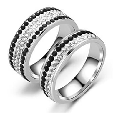 billige Ringer for Par-Par Parringer Ring 1pc Sølv Grå Rustfritt Stål Sirkelformet Grunnleggende Mote Engasjement Gave Smykker Hjerte Kjærlighed