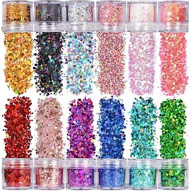 preiswerte Nagel Strass & Dekorationen-holographische klobige glitter 12 farben insgesamt 120g gesicht körper auge haar nagel festival klobige holographische glitter unterschiedlicher größe sterne und sechsecke geformt