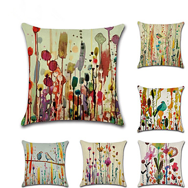 cheap Decorative Pillows-Set of 6 Linen Pillow Cover, Animal Floral Print Classic Rustic Throw Pillow
