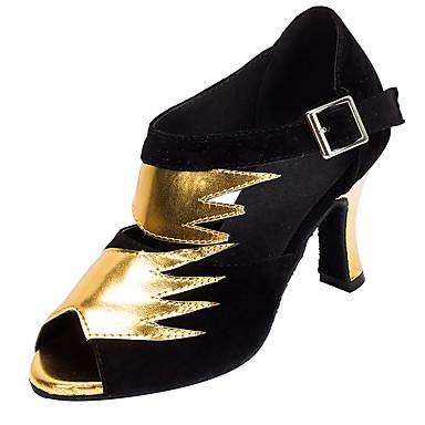 Γυναικεία Παπούτσια Χορού Νάιλον Παπούτσια χορού λάτιν Κόψιμο Τακούνια Κουβανικό Τακούνι Εξατομικευμένο Μαύρο και Χρυσό / Επίδοση