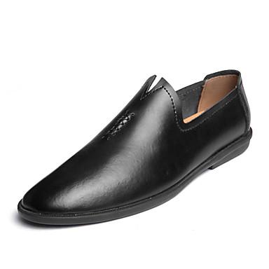 Ανδρικά Δερμάτινα παπούτσια Δερμάτινο Καλοκαίρι / Ανοιξη καλοκαίρι Καθημερινό / Βρετανικό Μοκασίνια & Ευκολόφορετα Περπάτημα Αναπνέει Μποτίνια Λευκό / Μαύρο / Καφέ