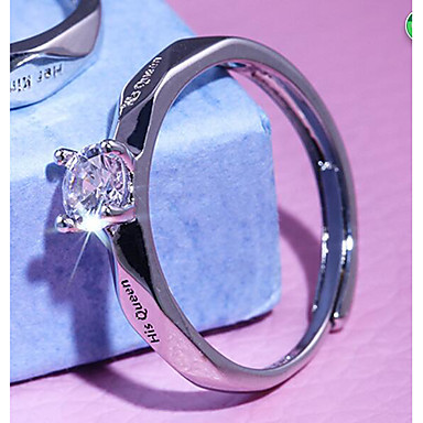 Dame Band Ring Ring Kubisk Zirkonium 1pc Hvit Kobber Geometrisk Form Stilfull Enkel Fest Gave Smykker Klassisk Kul