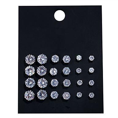 levne Dámské šperky-Dámské Průsvitné Křišťál Peckové náušnice Solitaire Mini Náušnice Šperky Stříbrná Pro Svatební 12 párů