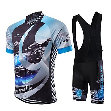 Fastcute Ανδρικά Κοντομάνικο Αθλητική φανέλα και σορτς ποδηλασίας Μαύρο Καρό Γαλαξίας Ποδήλατο Ρούχα σύνολα Αναπνέει Ύγρανση Γρήγορο Στέγνωμα Ανατομικός Σχεδιασμός Αθλητισμός Καρό / Ελαστικό