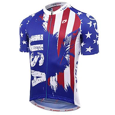 21Grams American / ΗΠΑ Εθνική Σημαία Ανδρικά Κοντομάνικο Φανέλα ποδηλασίας - Κόκκινο+Μπλε Ποδήλατο Αθλητική μπλούζα Μπολύζες Αναπνέει Ύγρανση Γρήγορο Στέγνωμα Αθλητισμός Τερυλίνη / Μικροελαστικό