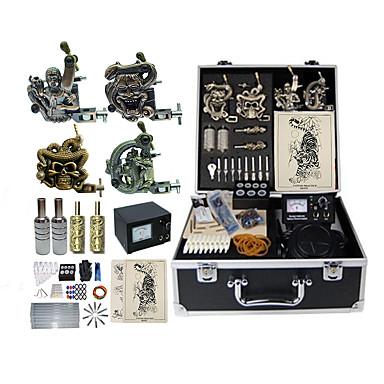 BaseKey Professionell Tattoo Kit Tattoo Machine - 4 pcs Tatueringsmaskiner, Professionell Legering 19 W Analog strömförsörjning 4 x legering tatuering maskin för lining och skuggning