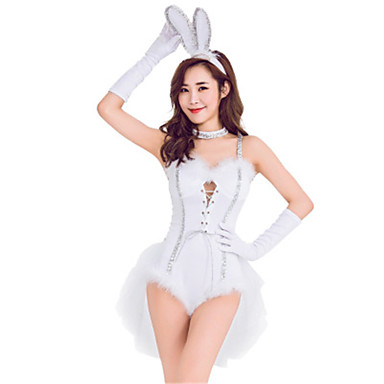 Bunny Jenter Kjoler Cosplay Kostumer Maskerade Voksne Dame Cosplay Halloween Jul Halloween Karneval Festival / høytid Polyester Hvit Dame Karneval Kostumer Ferie Kanin Halloween