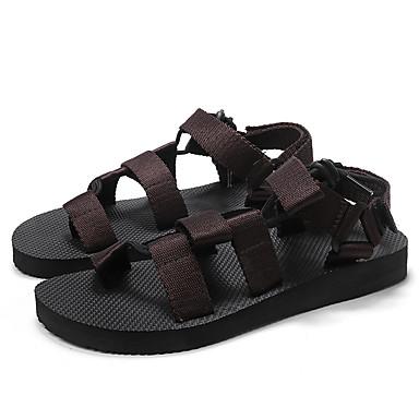 Ανδρικά Παπούτσια άνεσης Πανί Ανοιξη καλοκαίρι Καθημερινό Σανδάλια Αναπνέει Μαύρο / Ουράνιο Τόξο / Σκούρο καφέ