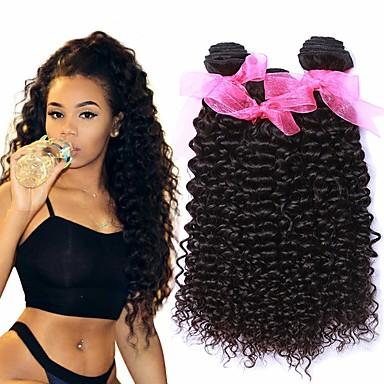 3 δεσμίδες Βραζιλιάνικη Kinky Curly Αγνή Τρίχα 100% πακέτα Remy μαλλιών Τεμάχια Κεφαλής Υφάνσεις ανθρώπινα μαλλιών Προέκταση 8-28 inch Φυσικό Χρώμα Υφάνσεις ανθρώπινα μαλλιών